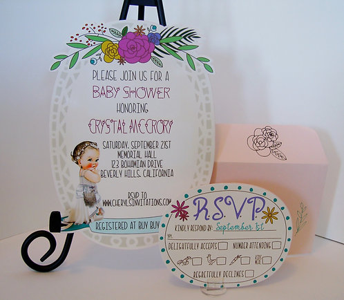 Bohemian Baby Shower Invitation (sold in sets of 10)