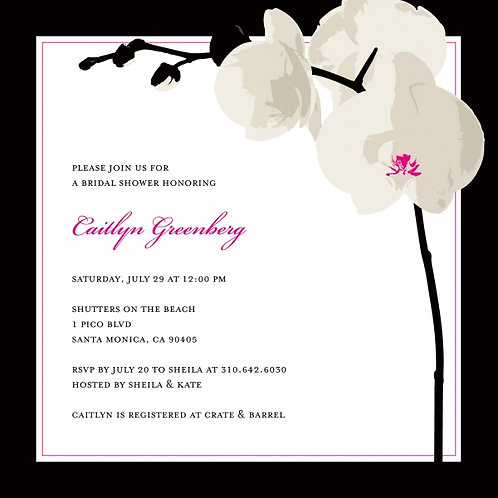 White Orchid Bridal Shower and  Event Invitation