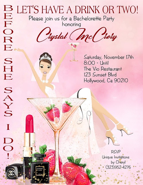 Drinks  Bachelorette Invitation (sold in sets of 10)