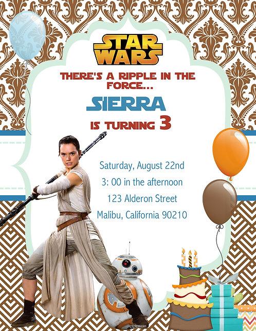 Star Wars Awakens Birthday Party Invitation