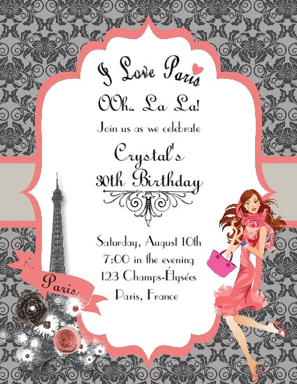 I Love Paris Coral Lace Birthday Party and  Event Invitation