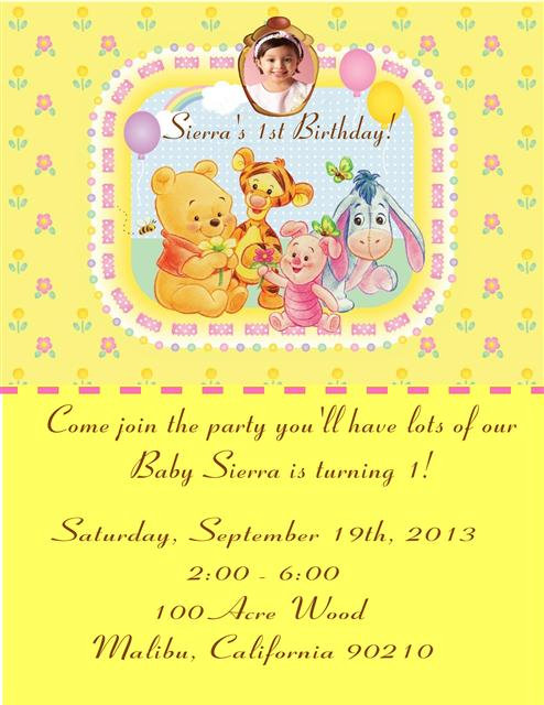 Baby Poohs Girl's 1st Birthday Party Invitation