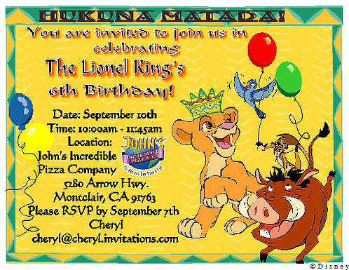 Lion King Children Party Invitation