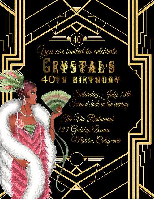 Gatsby Ebony Birthday Party and  Event Invitation (sold