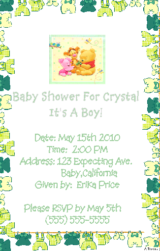 Pooh Boy Baby Shower Invitations