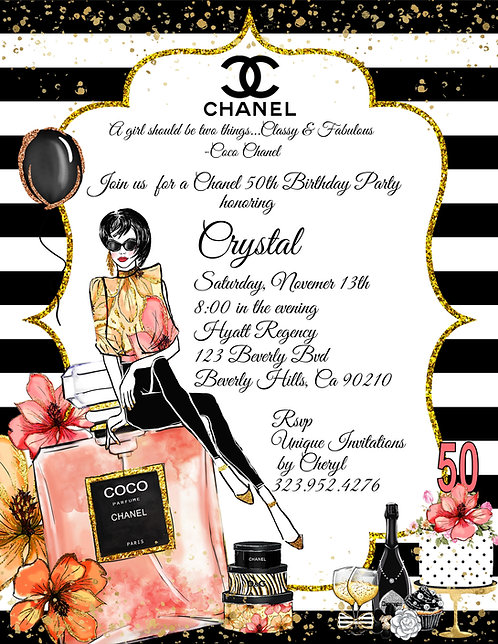 Boss Lady Chanel Birthday Party Invitation (sold in sets of 10)