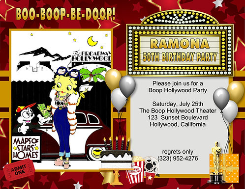 Betty Boop Hollywood Map Birthday Party and  Event Invitation