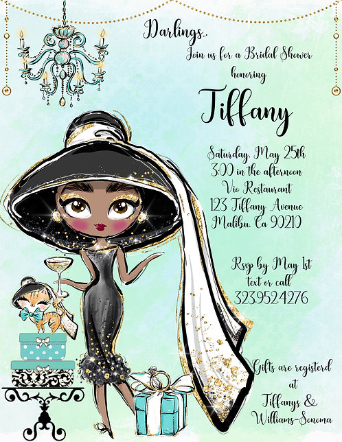 African American Tiffany Audrey Bridal Shower Invitation (sold in sets of 10)