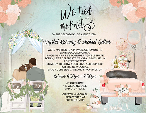 """Biracial """"We Tied the Knot"""" Drive-By Invitation #2 (sold in sets of 10)"""