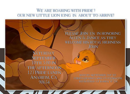 Lion King Prince Baby Shower Invitations (sold in sets of 10)