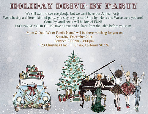 Holiday Drive By Party II Invitation (sold in sets of 10)