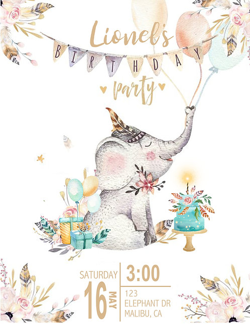 Boho Boy Elephant Birthday Invitation (sold in sets of 10)