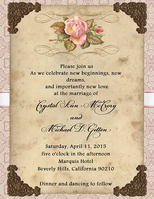 Vintage Rose Wedding / Event Invitation