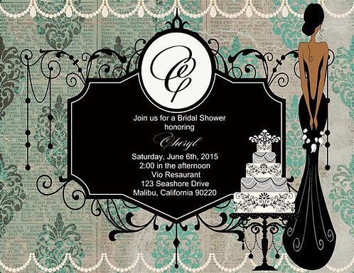 Deco African American Bridal Shower and  Event Invitation