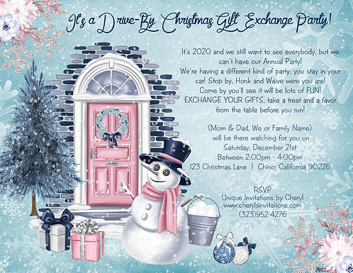 Snowman Holiday Drive By Gift Exchange Invitation (sold in sets of 10)