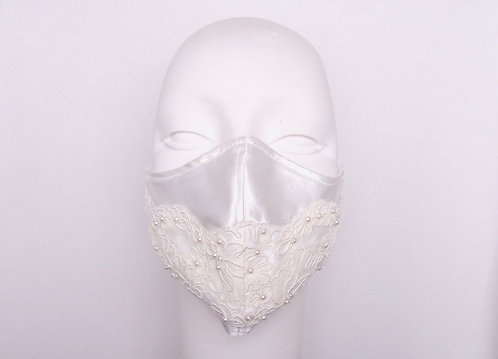 Bridal Alencon Lace with Pearls Contoured Face Mask  with Filter Pocket