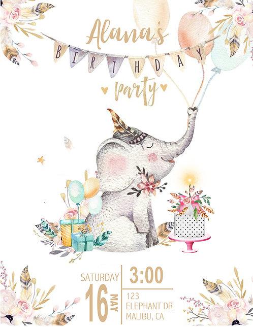 Boho Girl Elephant Birthday Invitation (sold in sets of 10)