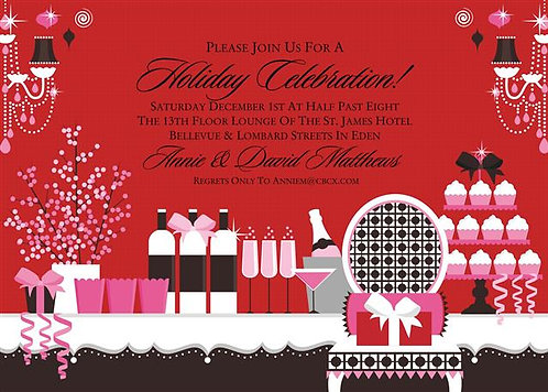 Holiday Party Table and  Event Invitation