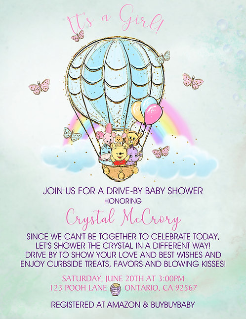 It's a Girl Pooh Rainbow Drive-By Baby Shower Invitations (sold in sets of 10)