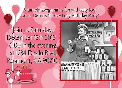 #2 I Love Lucy Birthday Party and  Event Invitation