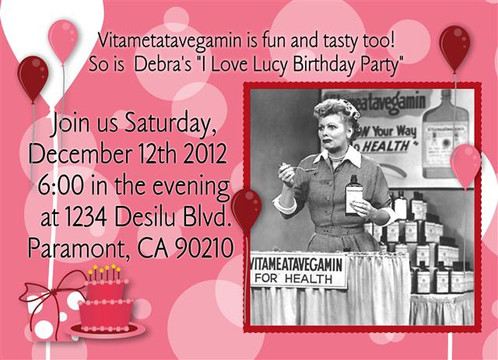 2 I Love Lucy Birthday Party And Event Invitation