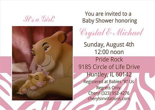#3 Lion King Princess Baby Shower Invitations