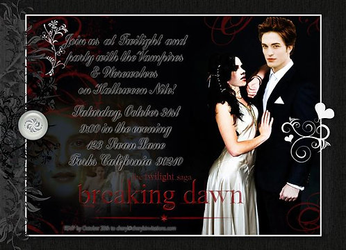 Twilight Saga Costume Halloween Party and  Event Invitat