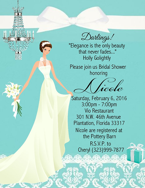 Tiffany Bridal Shower Party and  Event Invitation