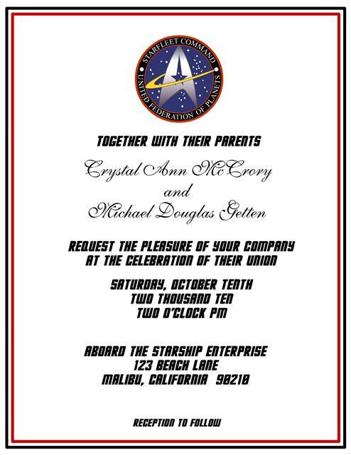 Star Trek Wedding / Event Invitation