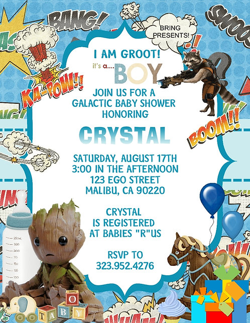 Guardians of the Galaxy Baby Shower Invitation
