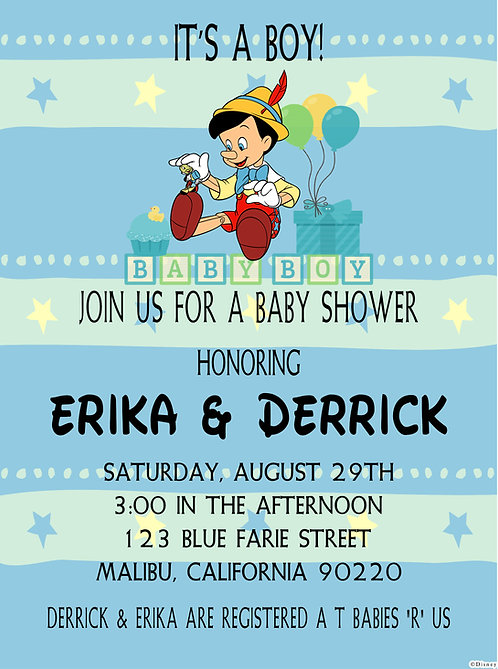 Pinocchio Baby Shower Invitation