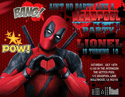 Deadpool Birthday Party and  Event Invitation (sold in sets of 10)