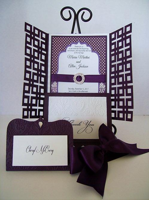 Damask Eggplant Wedding and Event Invitation