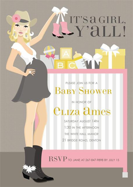 It's a Girl Y'all Baby Shower Invitations