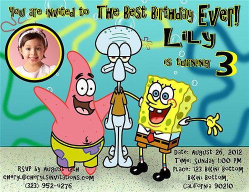 #4 Spongebob Birthday Party Invitation