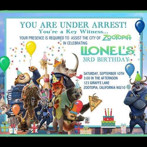 Zootopia Birthday Party Invitation