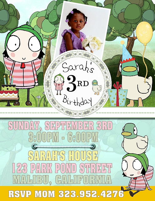 Sarah & Duck Birthday Party Invitation