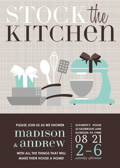 Blue Kitchen Bridal Shower Bridal Shower and  Event Invitation