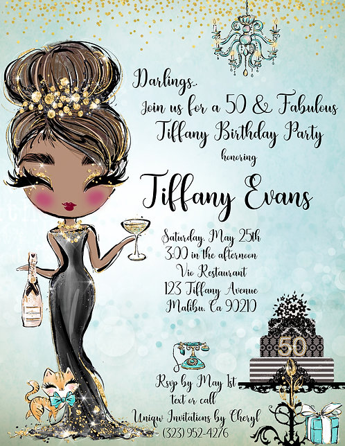 African American Tiffany Audrey Birthday Invitation (sold in sets of 10)