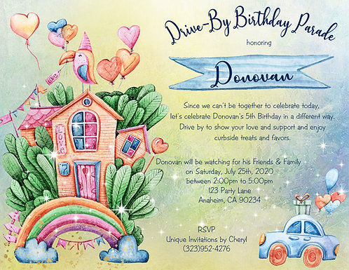 House Party Drive-By Birthday Invitation (sold in sets of 10)