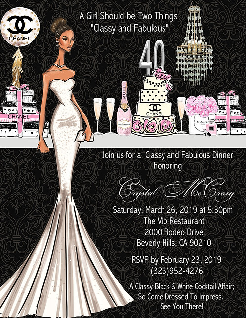 African-American Elegant Chanel Birthday Party Invitation (sold in sets of 10)