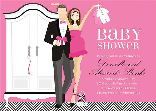 Pink Couples Let's Dress the Baby Shower Invitations