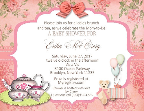 #2 Tea Party Baby Shower Invitation