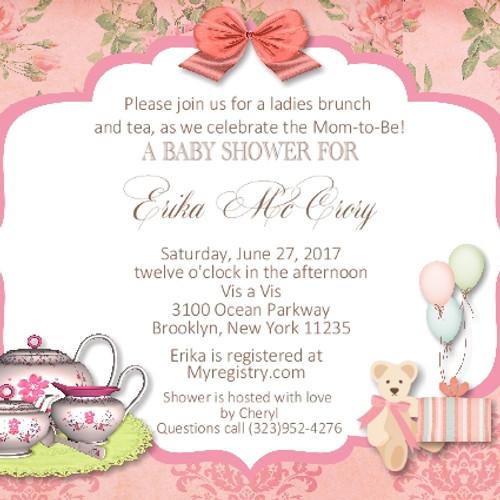 #2 Tea Party Baby Shower Invitation