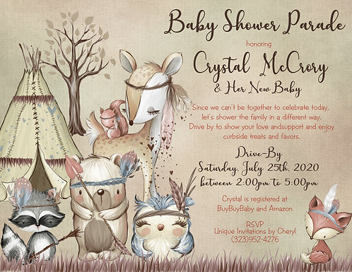 Boho Woodland Drive-By Baby Shower Invitations (sold in sets of 10)