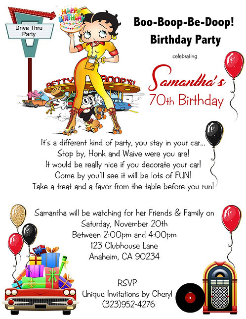 Betty Boop Drive-Thu Birthday Party Invitation (sold in sets of 10)