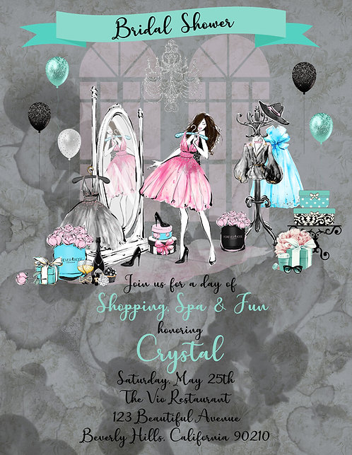 Tiffany Blue Shopping Bridal Shower Invite (sold in sets of 10)