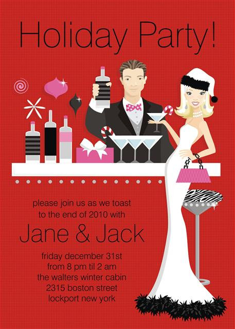 Hip Holiday Hostess Blonde Couple Party and  Event Invitation