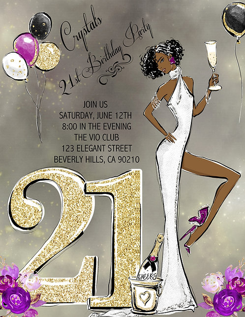 21st Birthday Party African American and  Event Invitation (sold in sets