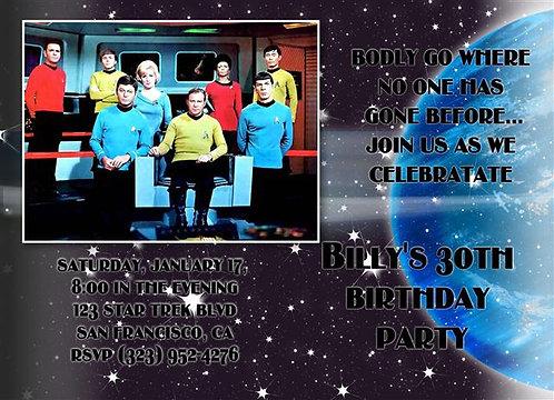 Original Star Trek Birthday Party and  Event Invitation